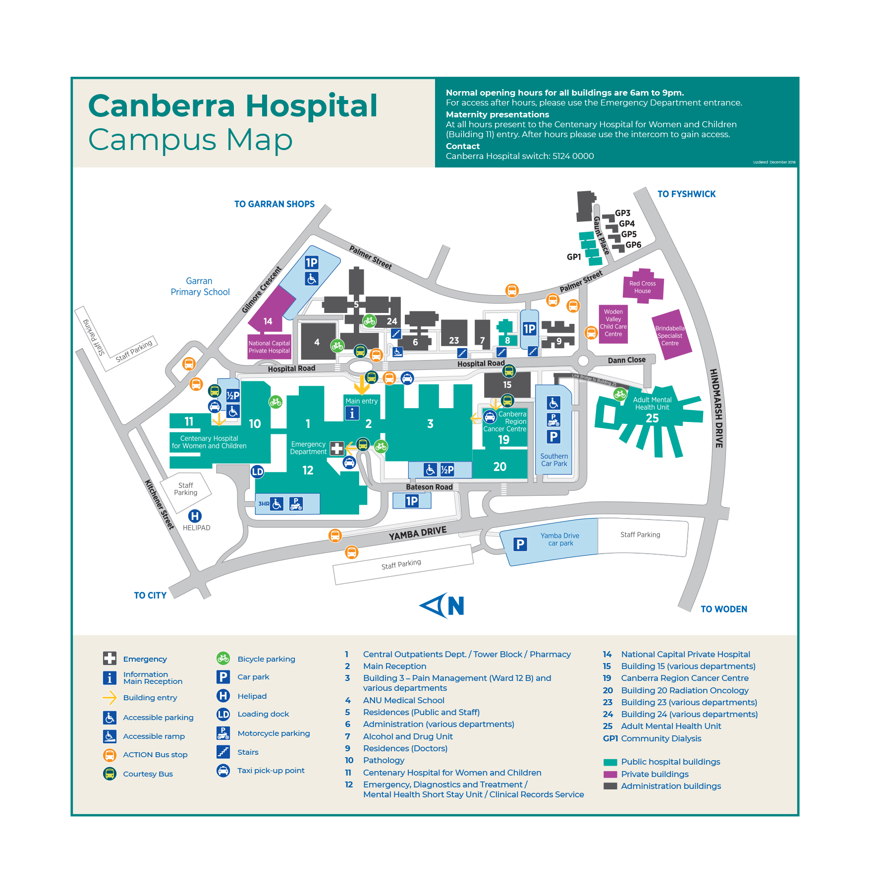 Canberra Hospital Campus Map