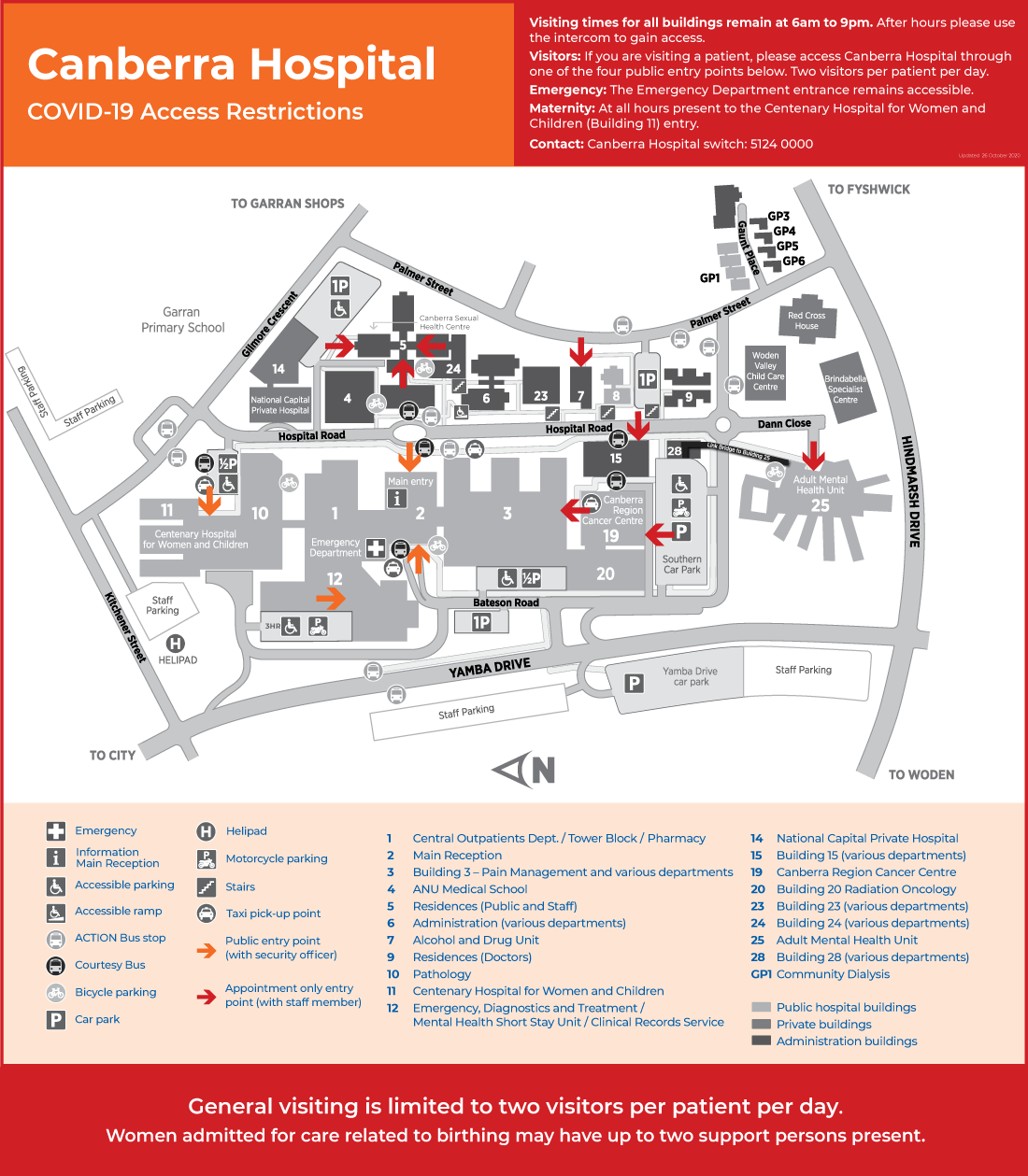 Canberra Hospital Campus Map - COVID-19